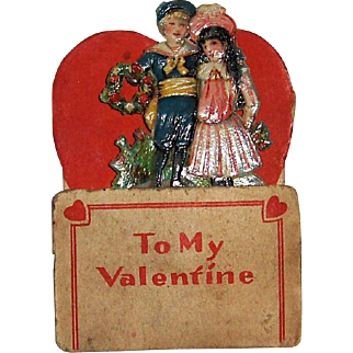 German Die Cut Pop-Up SMALL Valentine Girl and Boy