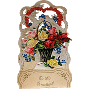 German Made Die Cut Pop-Up Valentine Flower Basket and Birds