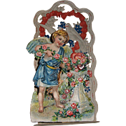 German Made Die Cut Pop-Up Valentine with Cupid, Roses, and Hearts - Red Tag Sale Item