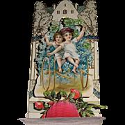 German Made Die Cut Pop-Up Valentine With Children on Flower Cart.
