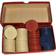 94 Vintage Poker Chips with Three Masted Sailing Ship