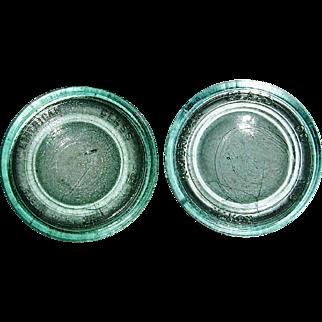 The North American Glass Co. 2 Sealer/Fruit Jar Aqua Glass Lids