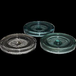3 Fruit Jar/Sealer Lids 1860's Pat. Dates