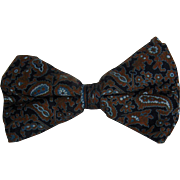 Vintage Silk Bow Tie - Muted Paisley Pattern Unisex Clip-On