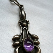 Vintage Silver Amethyst Pendant & Chain