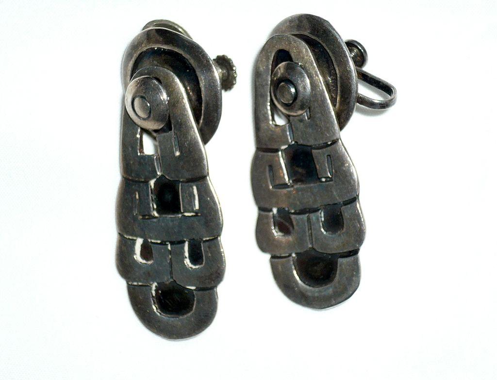 Vintage Silver  Glyph Design Earrings
