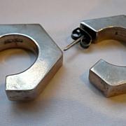 Early Silver Hexagonal Post Earrings