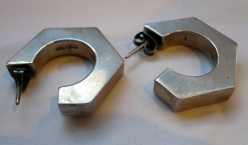 Early Silver Hexagonal Post Earrings