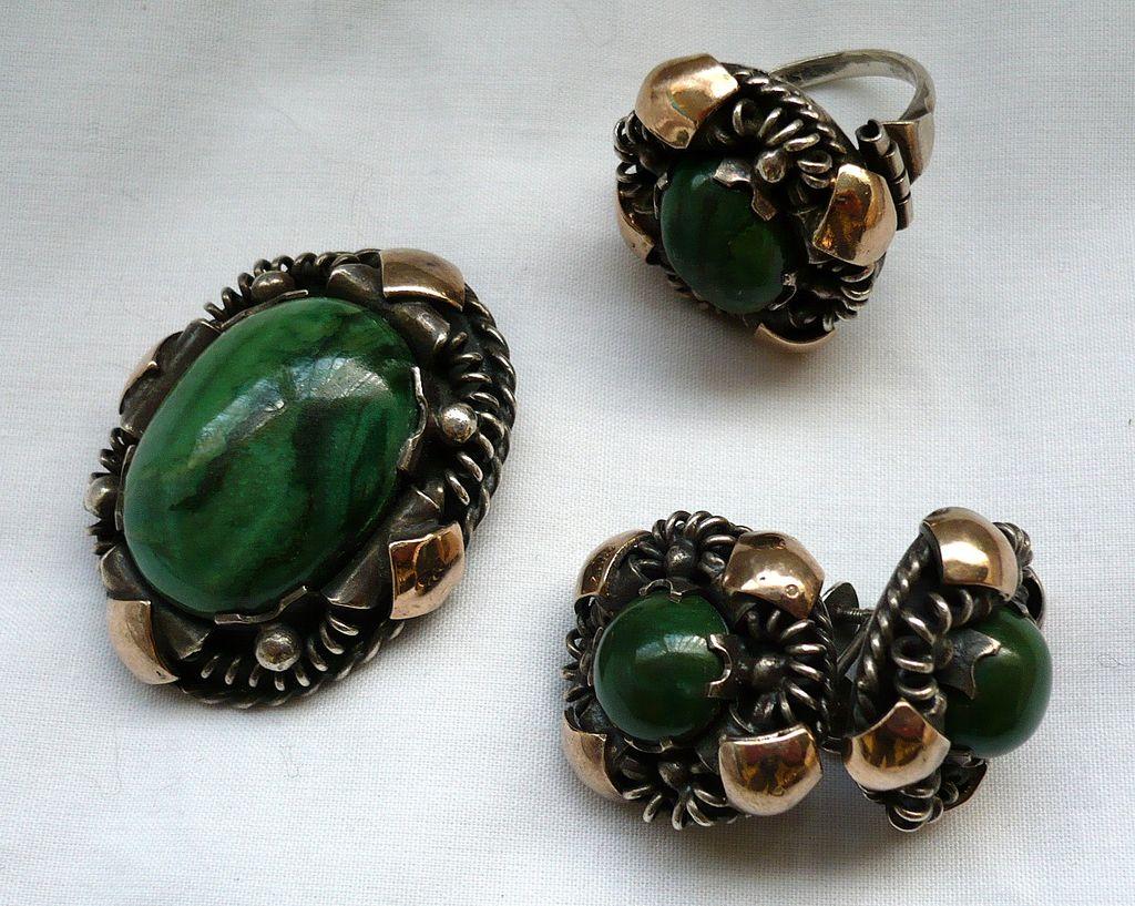 SALE! Vintage Silver & Gilt & Malachite Ring, Earrings & Brooch