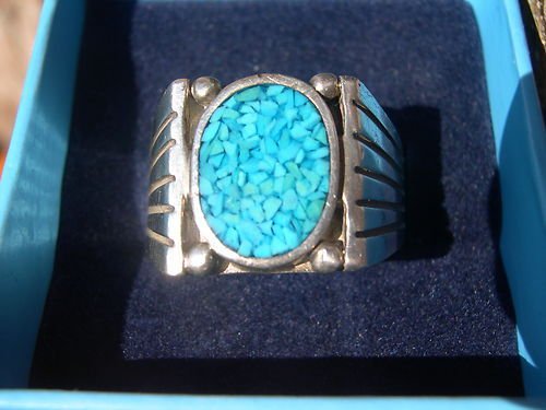 Vintage Turquoise  & Silver Ring Size 10