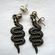 SALE!Vintage Pewter Snake Earrings