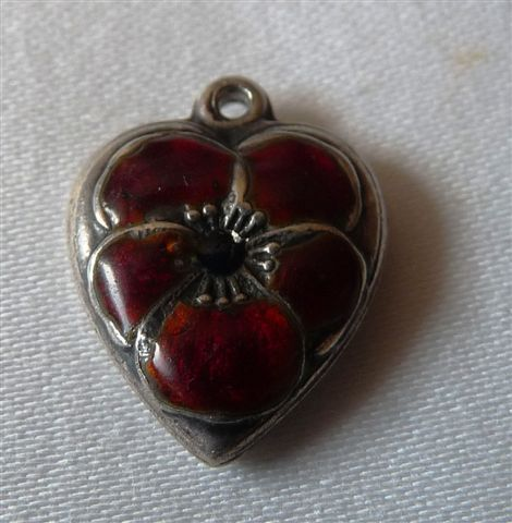 Vintage Sterling Silver Red Pansy Heart Charm