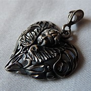 Vintage Sterling Silver Heart Pendant with Cherub