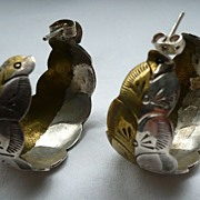 Mexican Sterling Silver And Brass Earrings