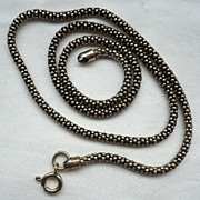 Vintage Beaded Tube Snake 925 Sterling Silver Chain Necklace