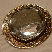 "SALE! Victorian ""9Karat Gold"" And Crystal Brooch/Pendent"