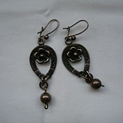 Victorian Silver Horse-Shoe & Flower Earrings