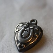 "Victorian Sterling Horseshoe Charm Engraved  ""Mac S"""