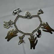 "Vintage Sterling Silver ""KITTY CATS"" Bracelet"