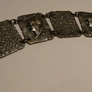 Vintage Silver Bracelet With Roman Heads
