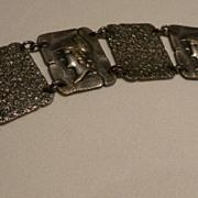 Vintage Silver Bracelet With Roman Heads
