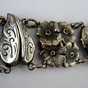 SALE! Vintage Circa 30 - 40's Pressed Silver Floral Bracelet