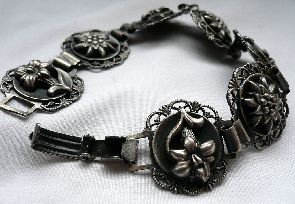 SALE! Vintage Swiss Silver Tourist Bracelet
