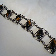 SALE! Vintage Sterling & Tiger's Eye Stones Bracelet