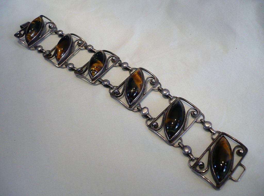 SALE! Vintage Sterling & Tiger's Eye Stones Bracelet