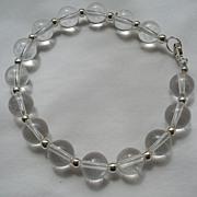 SALE! Vintage Rock Crystal & Silver Bracelet