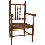 Antique French Faux Bamboo Doll's Arm Chair