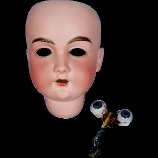 Antique German Bisque Doll Head w/ Eyes - Walkure 10