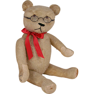 "22"" Antique White Mohair Jointed Teddy Bear"