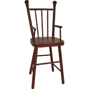 Nice Old Doll High Chair with Original Red Paint
