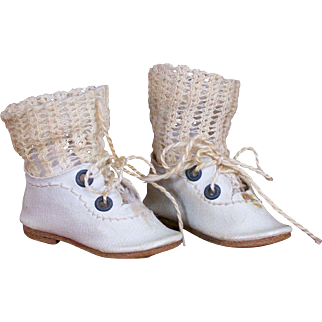 Pair of Tiny Antique Doll Shoes with Socks - Size 1