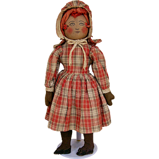 "14"" Early Black Babyland Rag Doll All Original"