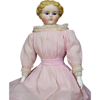 "24"" Molded Hair Bisque Doll with Glass Eyes"