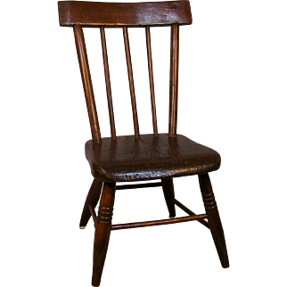 Great Antique Rod Back Doll Chair
