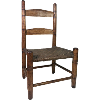 19th Century Slat Back Doll Chair w/ Pegged Construction