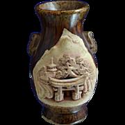 Vintage Japanese Bankoware Banko Ware Scenic Vase