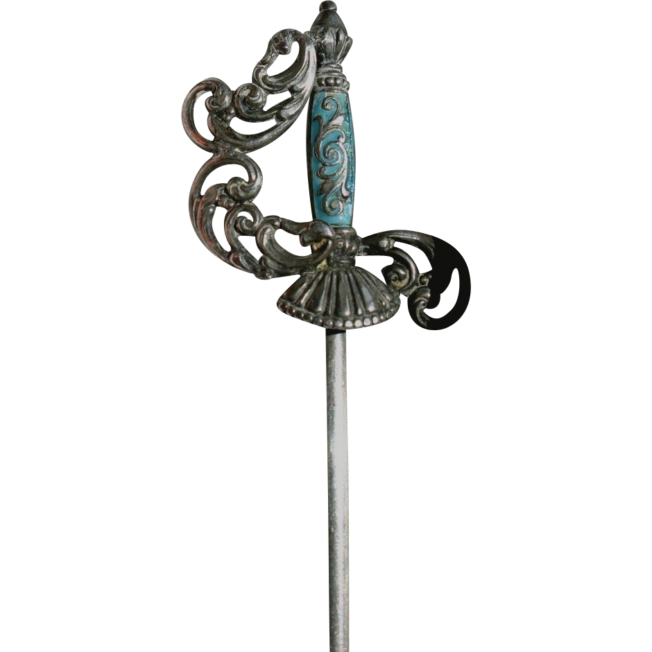 Romantic Victorian French Muskateer Sword Jabot Pin Sterling and Enamel