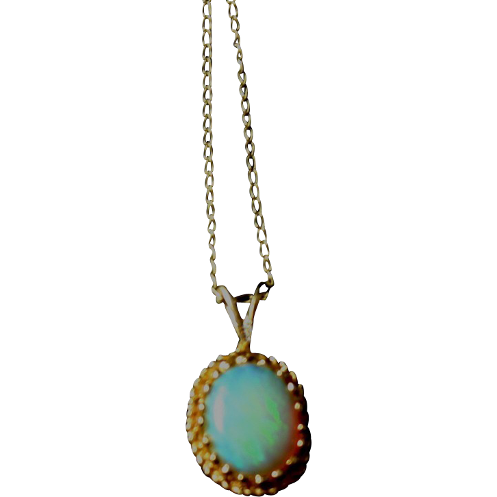 Lovely Fiery Natural Opal in 14k Gold with Fine Chain Estate Item