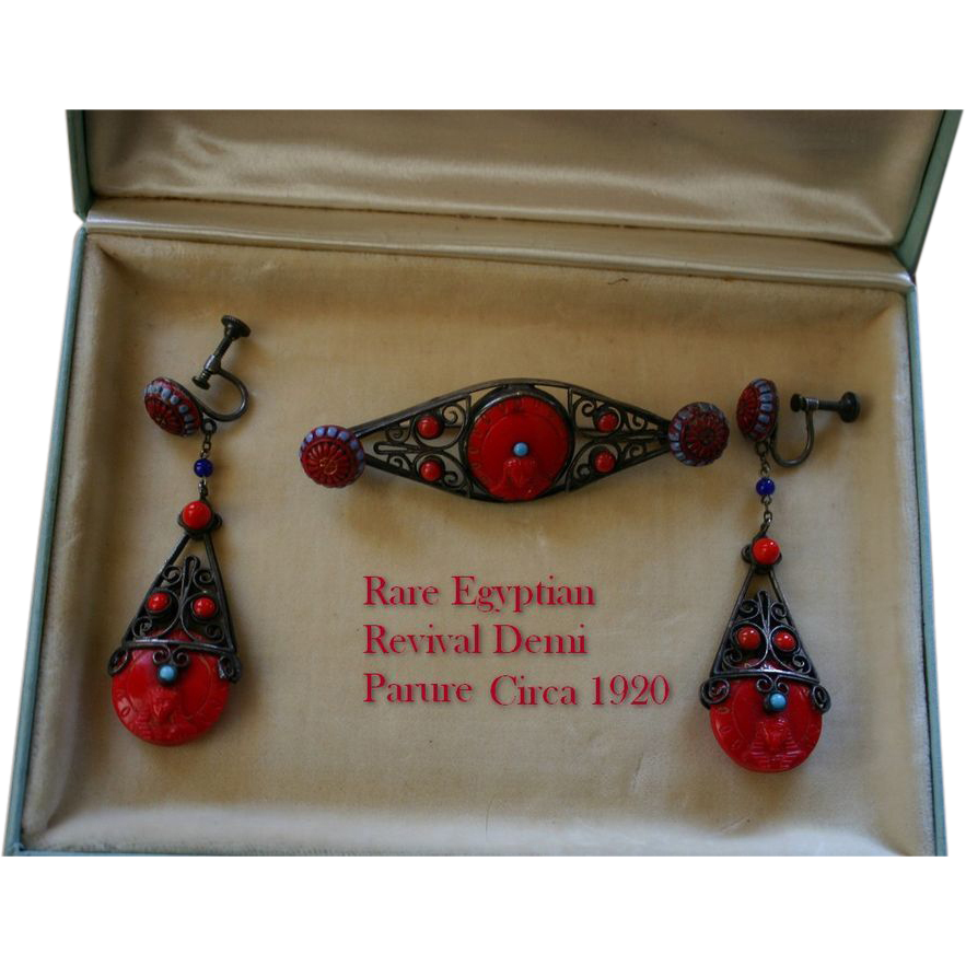 Rare and Wonderful Art Deco Egyptian Revival Earrings and Brooch