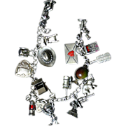 Fabulous 1940's Mechanical Sterling Silver Charm Bracelet Charley McCarthy Love Letter