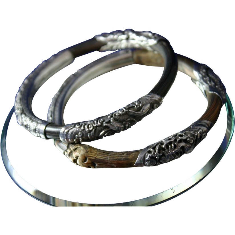 Fine Pair of Antique CHINESE Silver Repousse and Bamboo Bangle Bracelets, Circa 1800's