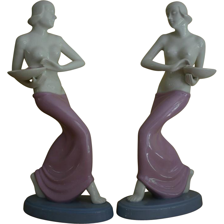 Extremely RARE Pair of MORIYAMA Art Deco Nude Figurines in Mirror Image