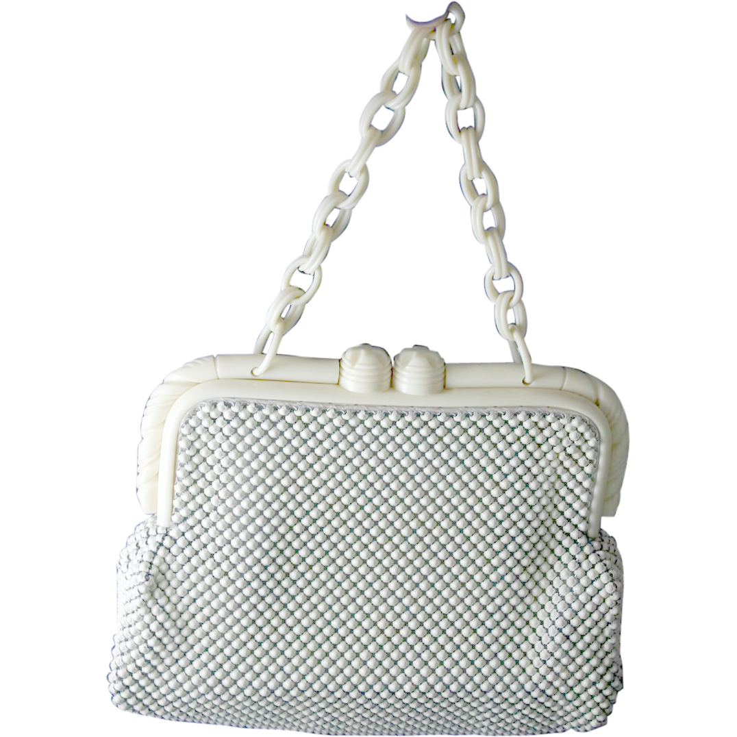 Vintage WHITING AND DAVIS Cream Alumesh Handbag with Carved Chunky Frame