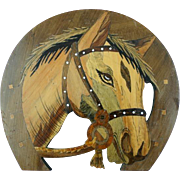 Fantastic Vintage Horse Head Wooden Plaque with Intarsia inlay
