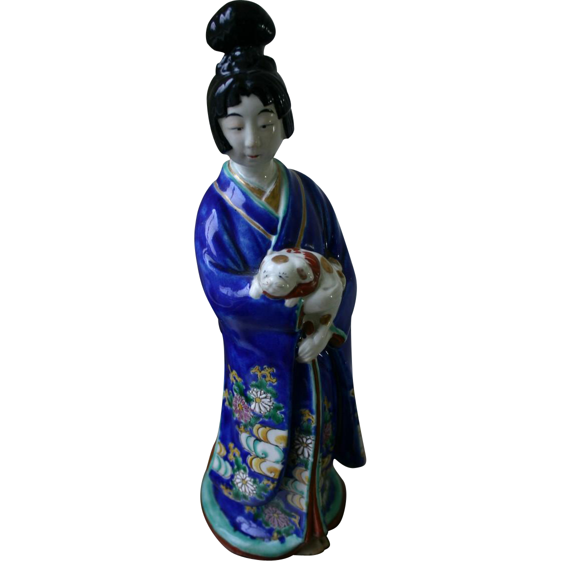 Very Rare Antique Japanese Kutani Porcelain Figurine of Geisha Girl with Dog