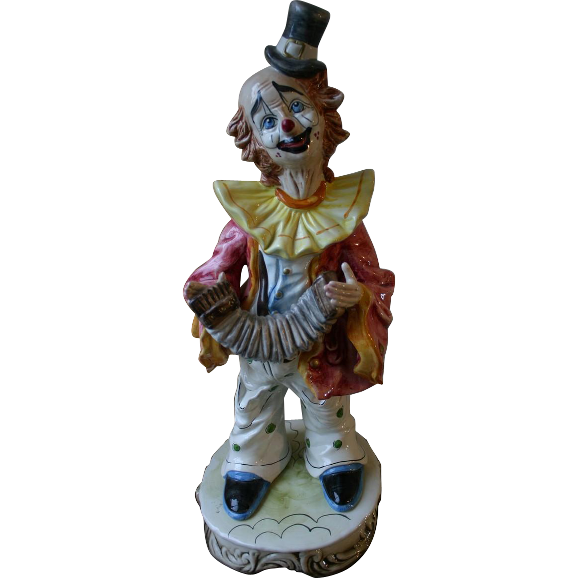 Charming Large CAPODIMONTE Italian Porcelain Clown Playing Accordion